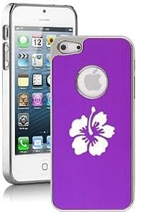 Apple iPhone 5c Aluminum Plated Chrome Hard Back Case Cover Hibiscus Flower (Purple)