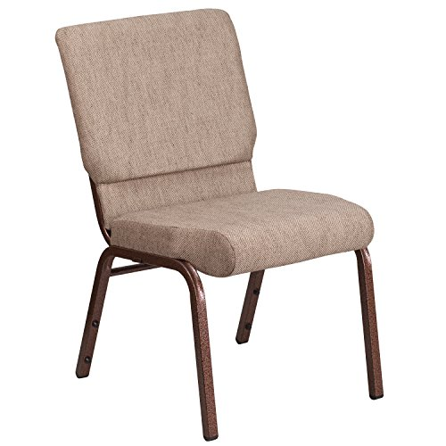"18.5""W Stacking Church Chair in Beige Fabric – Copper Vein Frame"