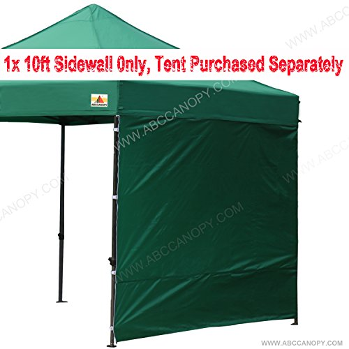 ABCCANOPY 15+colors 10' Sun Wall for 10'x 10' straight leg pop up canopy Tent, 10' Sidewall kit (1 Panel) with Truss Straps (Forest (Canopy Forest Green)