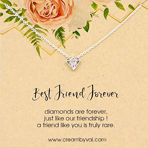 (Best Friend Forever Silver Diamond Sterling Necklace - 17'' Length)