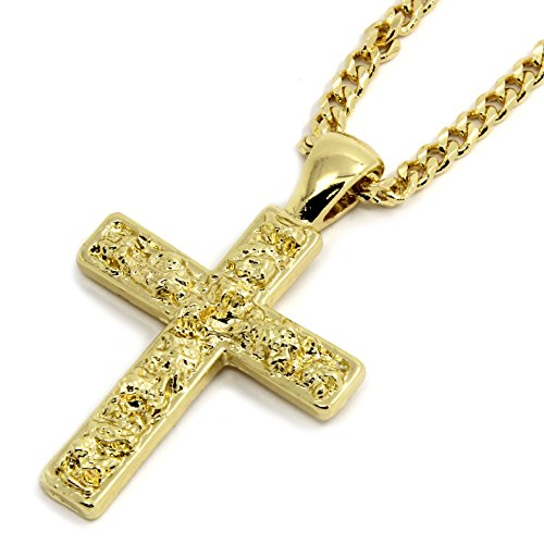 (Men's 14K Gold Plated Nugget Cross Pendant Hip-hop Style 3mm/30