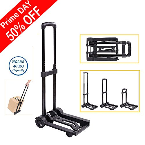 Flated Trolley Dolly Cart 3 Adjustable Height 4-Wheel Black Folding Hand Truck Parts (US STOCK)