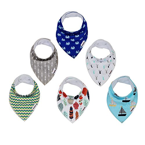 Baby Bandana Drool Bibs,6-pack Organic Cotton Soft Absorbent for boys girls by MONEIL (Image #7)