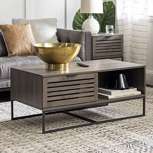 Walker Edison Modern Slatted Wood Rectangle Coffee Table With Drawer Living Room Ottoman Storage Shelf 42 Inch Slate Grey Furniture Decor Amazon Com