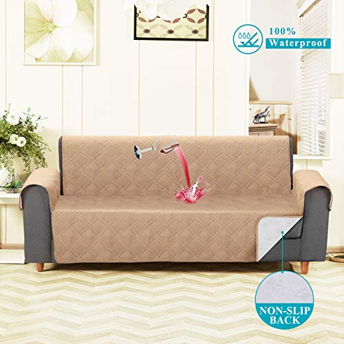 VECELA Sofa Cover Waterproof for Pet Couch Slipcover for Living Room Resistant Furniture Protector Non-Slip Couch Cover for Kids Dogs Machine