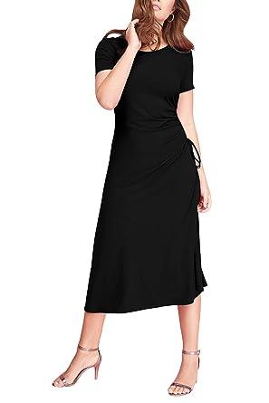 2d83360704654 LaSuiveur Women's Short Sleeve Side Slit Slim Fit Ruched Midi Dress ...