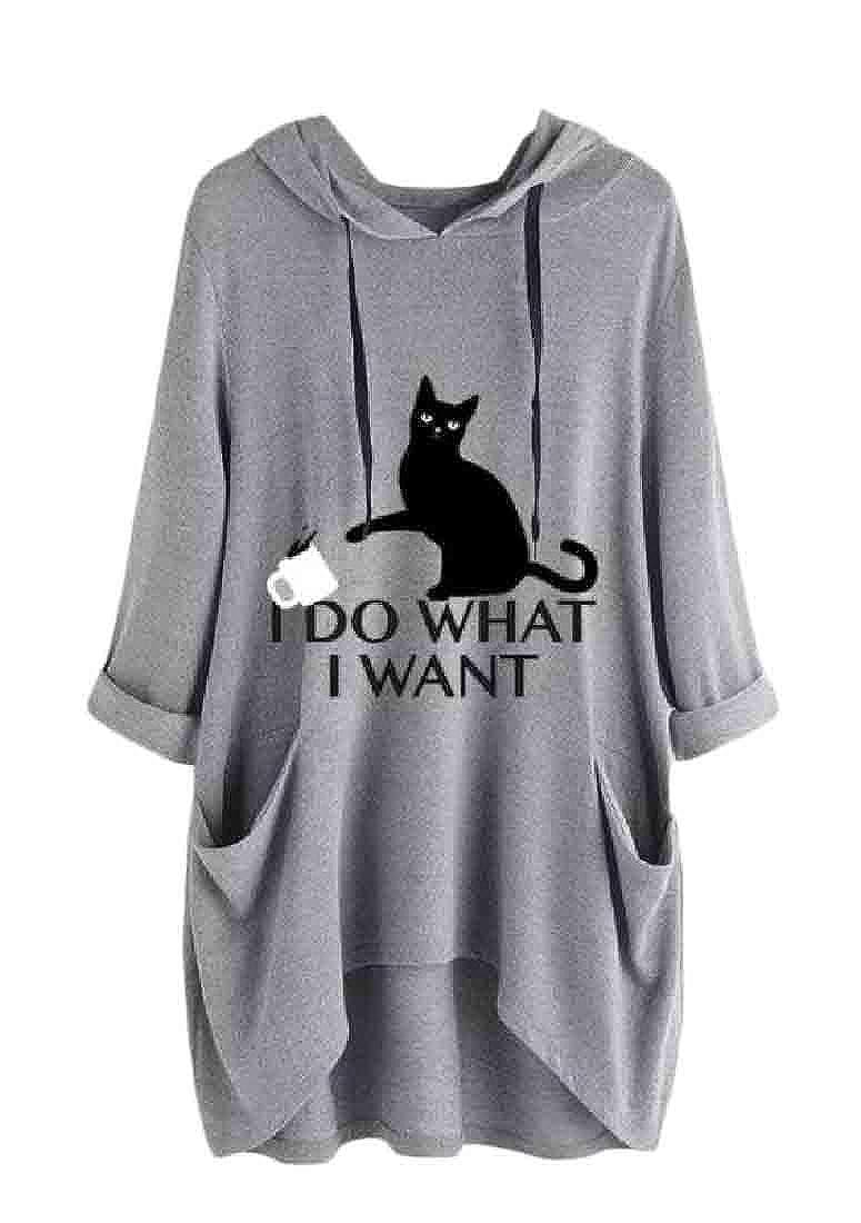 C/&H Women Basic Hoodie Tee Pullover Plus Size Printed Sweatshirts