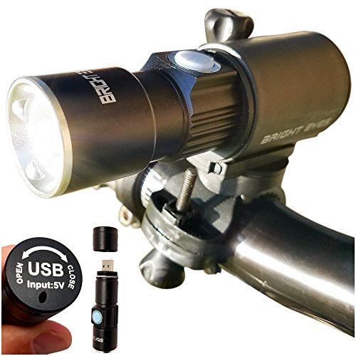 Bright Eyes 300 Lumen USB Rechargeable Water Resistant Bike Light - Headlight and Tail LED Set
