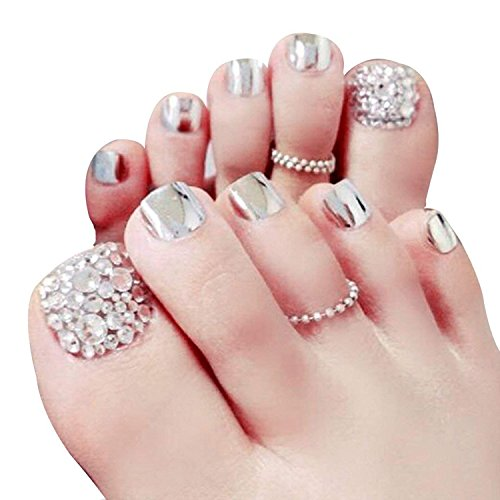 Skyvan Set of 24 False Nail for Toe Chic Exquisite Bling Rhinstones Bridal Fake Nail for Toes Full Cover Nail Tips Foot Nails (Press Toenails On)
