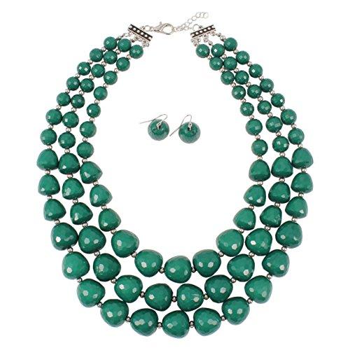 KOSMOS-LI 3 Layer Acrylic Teal Bead Multi Strand Necklace ()