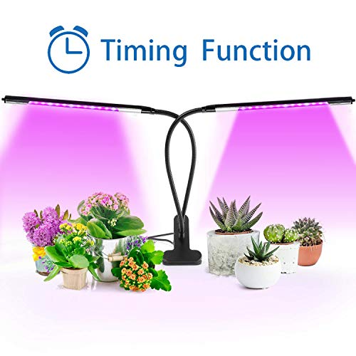 Missyee 20W Dual Head Timing Grow Light, 42 LED 3 Switch Modes Plant Grow Lights for Indoor Plants with Red Blue Spectrum, Adjustable Gooseneck