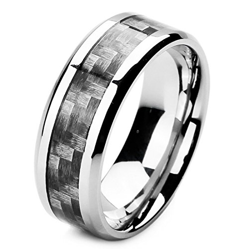 INBLUE Men's 8mm Stainless Steel Carbon Fiber Ring Band Silver Tone Black Checkered Size7 Checkered Band Ring