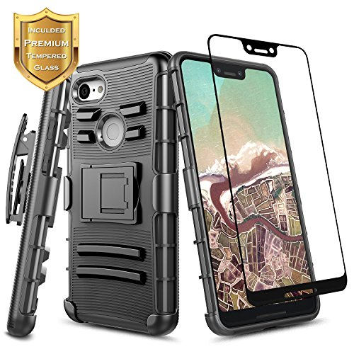Pixel 3 XL Case w/[Full Coverage Tempered Glass Screen Protector] NageBee Belt Clip Holster [Heavy Duty] Armor Shock Proof Kickstand Combo Rugged Case Compatible with Google Pixel 3 XL (2018) -Black