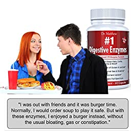 Best Digestive Enzymes with Amylase, Bromelain & Lipase - Reduce Gas, Bloating & Indigestion - Break Down Fats, Carbs, Proteins, Gluten & More - Vegetarian, Gluten-Free, 100% Natural, Full Spectrum