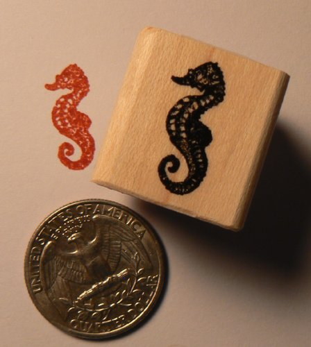 Miniature seahorse rubber stamp WM