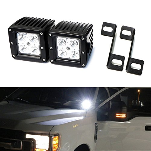 iJDMTOY Complete 40W High Power CREE LED Pod Light Kit w/Windshield A-Pillar Mounting Brackets & Switch Wiring Relay For 2015-up Ford F-150, 2017-up Ford F-250 F-350