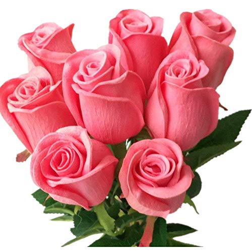 10pcs Real Touch Rose Simulated Fake Latex Roses 43cm for Wedding Party Artificial Decorative Flowers (deep - Flower Deep Pink