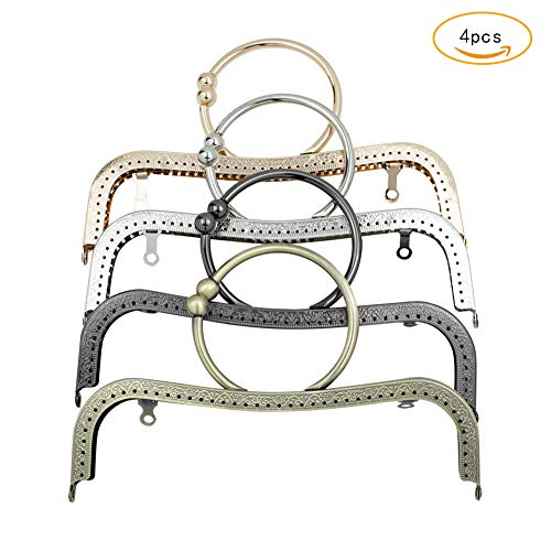 GuoFa 4pcs Purse Frame Kiss Clasp Lock,Retro Metal DIY Bag Frames Arts Crafts Sewing Round Bracelet-Shaped Handle Hardware Purse Frames for Women Girl 8.7inch Multicolor (Multicolor, 8.7inch)