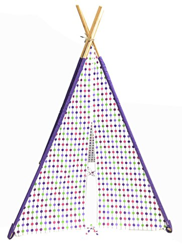 Bacati - Botanical Purple Kid's Foldable Teepee Play Tent Four Strong Bamboo Poles