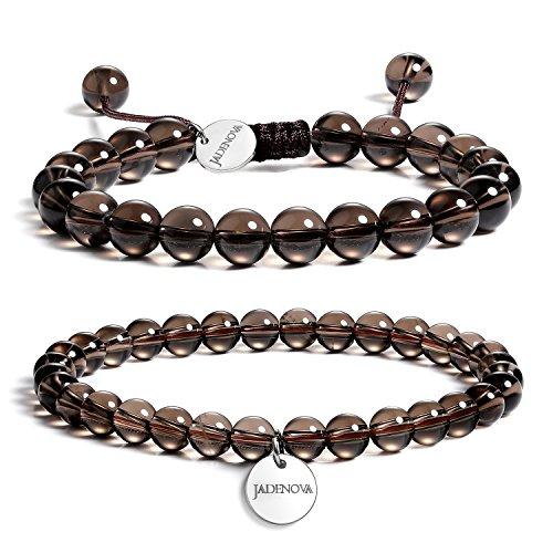 JADENOVA 6/8mm Natural Smoky Quartz Gemstone Bracelets Round Beads Stretch Bracelet Adjustable Beaded Bracelet Couple Distance Bracelets Unisex (2pcs Bracelet (Quartz Bead Sets)