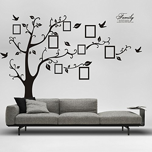 DaGou Huge 6' Ft(h) X 9' Ft(w), Memory Family Tree Photo 1set DIY Flower Love World Large Art Decor Home Stickers Removable Vinyl Wall Decals for Living Room