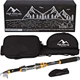 High Altitude Brands Lightweight Portable Telescopic Fishing Pole, Case and Available with Spinning Reel Rod Combo, Motorcycle, Car, Hiking, Backpacking, Wheelchair Travel Gear, Collapsible Poles