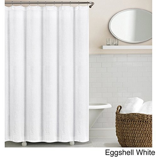 Echelon Home Washed Belgian Linen Shower Curtain Eggshell White (Belgian Linen Curtains)