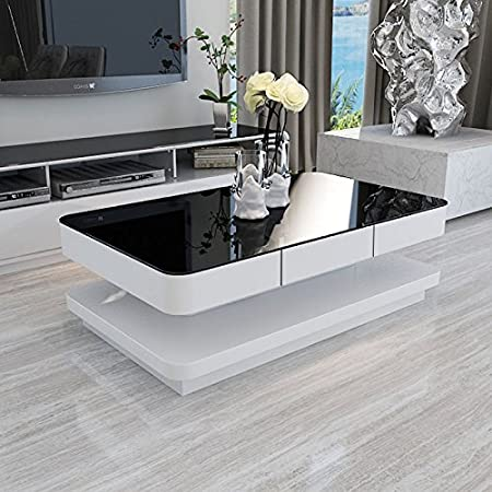 UEnjoy Modern Black Tempered Glass Top White Gloss Coffee Tables For ...