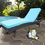 HTTH Outdoor Chaise Lounge, Easy to Assemble Chaise Longue, Thick & Comfy Cushion Wicker Lounge Chairs, Lightweight but Durable 1 Pices Chaise Lounge Chair (9229-EXP-1PC)
