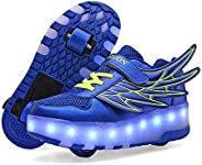 AIkuass USB Chargeable LED Light Up Roller Shoes for Boys Girls Kids Wheeled Skate Sneaker Shoes