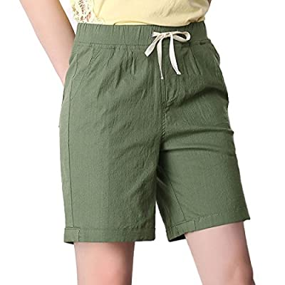 CHARTOU Women's Modest Loose Elastic-Waisted Bermuda Drawstring Casual Shorts | Amazon.com