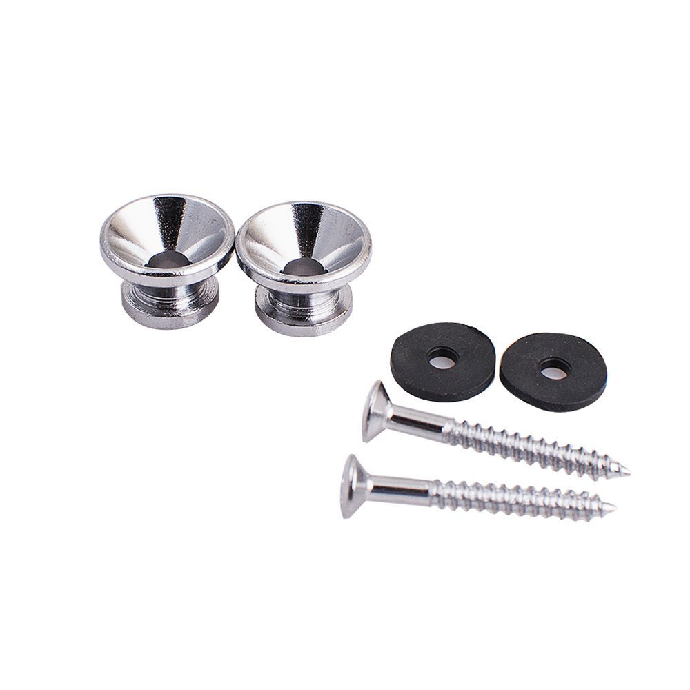 2pcs Silver Metal Strap Lock Buttons End Pins with Mounting Screws For Electric Acoustic Guitar Bass Ukulele Kenpma k-strap-lock
