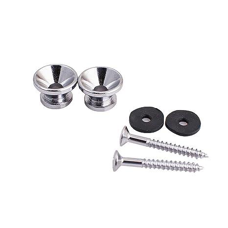 KENPMA Botones metálicos para correa de guitarra, con tornillos de montaje, para guitarra eléctrica