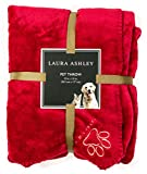 Laura-Ashley-Reversible-Micro-Fur-Pet-Dog-Bed-Blanket-Throw-Cranberry-Red