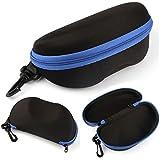 Mokingtop®Fashion Portable Carabiner Eye Glasses Sunglasses Hard Case Protector Box (Blue)