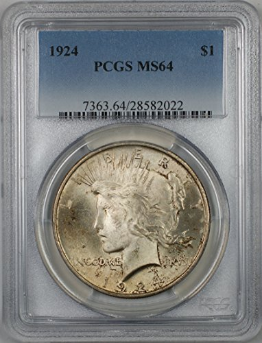 Ms64 Light (1924 Peace Silver Dollar Coin $1 PCGS MS-64 Light Toning (2E))