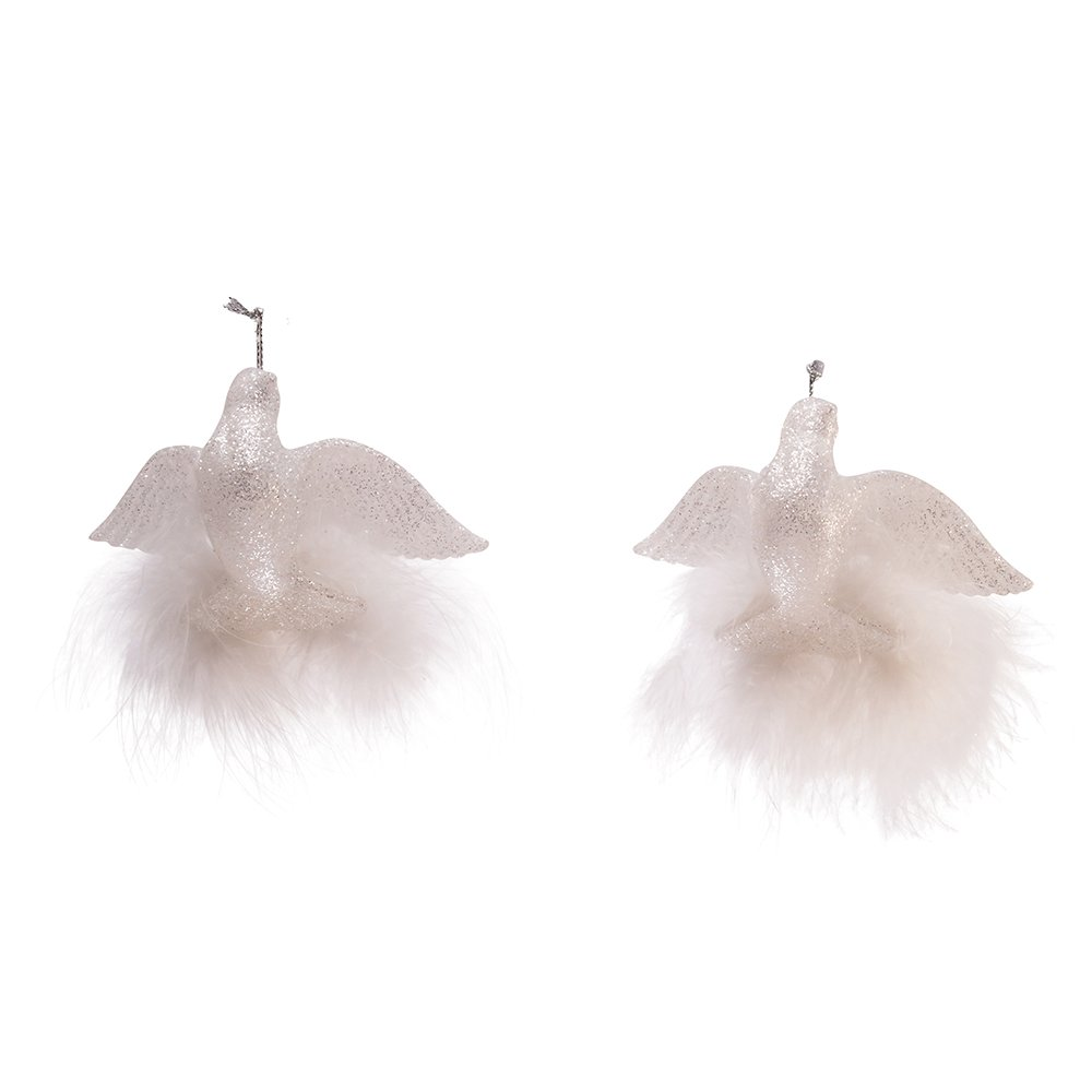 YAMD1283 Kurt Adler 1.5-Inch White Glitter Set of 2 Dove Ornaments 2 Piece Kurt S Adler Inc