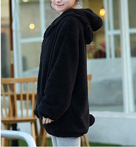 7947ed6e428ed4 Women's Bear Ear Plush Hoodies Long Sleeve Zip Up Sweatshirt Fleece Jacket  Coats