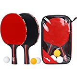 Boliprince Ping Pong Paddles 2-Player Table Tennis Racket Set With 3 balls