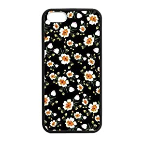 Canting_Good,Retro Floral Daisy, Custom Case for iPhone 5,5S TPU (Laser Technology)