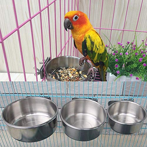 Viet SF Caged Bird Feeder Hanger for Outside- Bird Food Water Feeders Cups Parrot Stainless Steel Container with Holder Food Bowl for Macaw Greys Budgies Parakeet Cage Stand- Window Bird Feeders ()