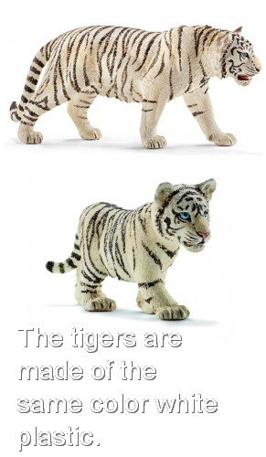 (Schleich Wildlife Realistic Durable White Tiger Family of Two Packaged Together Ready to Give! Adult (14731) and Cub (14732) Wild Asian Animals )