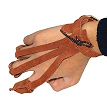 Toparchery Finger Guard Cow Leather Tab Protector Shooting Archery Glove Brown for Right Hand or Left Hand