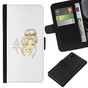 A-type (Art Design Woman Hair Portrait) Colorida Impresión Funda Cuero Monedero Caja Bolsa Cubierta Caja Piel Card Slots Para Sony Xperia Z1 L39