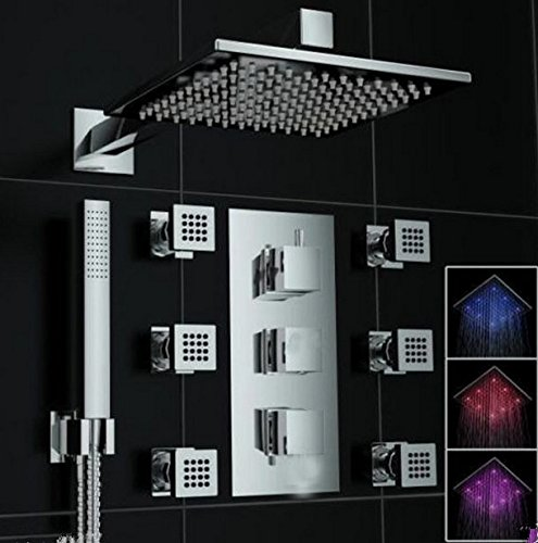 GOWE Luxury Led 12-Inch Temperature Contral Shower Set Mixer Faucet W/ 6 Massage Sprayer Jet 0