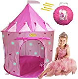 WooHoo Toys Children Pink Princess Castle Playhouse Play Tent For Girls, Indoor/Outdoor with Stakes for Kids to Pretend Play, Glow-in-the-Dark Stars, Pop Up and Portable, Foldable into Carry Bag