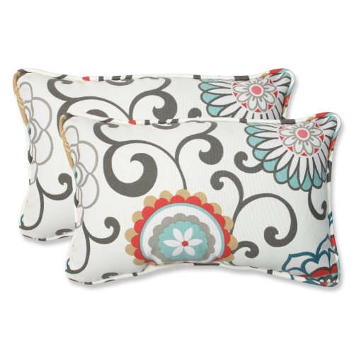 Pillow Perfect Outdoor Pom Pom Play Peachtini Rectangular Throw Pillow, Set of 2