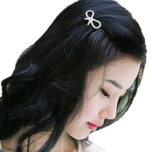 Polytree 5Pcs Women Girls Crystal Rhinestone Bow-knot Barrette Mini Hair Clips (Crystal Bow Barrette)