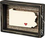 This wooden inset box sign features a dimensional Pennsylvania state silhouette, background list of the most populated cities, and adhesive mini heart to place on a hometown or favorite spot. Includes a back sawtooth hanger or can free-stand ...