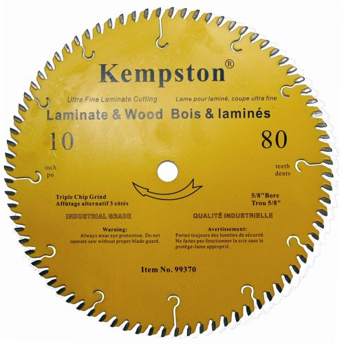 Kempston 99370 10-Inch by 80 Tooth Industrial Thick Kerf Laminate and Wood Blade with 5/8-Inch Arbor